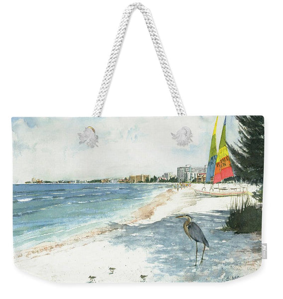 Blue Heron And Hobie Cats, Crescent Beach, Siesta Key - Weekender Tote Bag