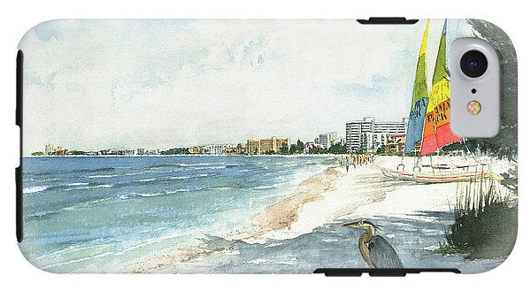Blue Heron And Hobie Cats, Crescent Beach, Siesta Key - Phone Case
