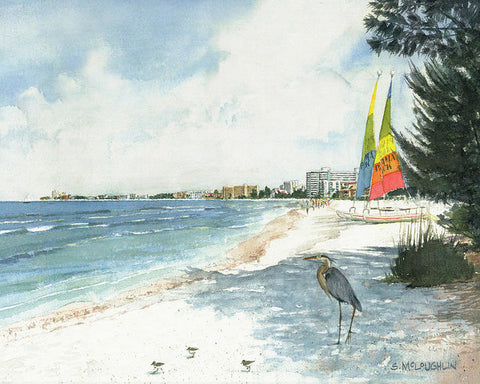 Blue Heron And Hobie Cats, Crescent Beach, Siesta Key - Art Print