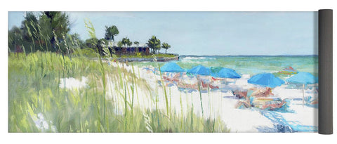 Blue Beach Umbrellas, Crescent Beach, Siesta Key - Wide - Yoga Mat