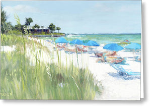 Blue Beach Umbrellas, Crescent Beach, Siesta Key - Wide - Greeting Card