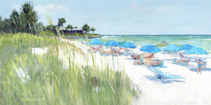 Blue Beach Umbrellas, Crescent Beach, Siesta Key - Wide - Art Print