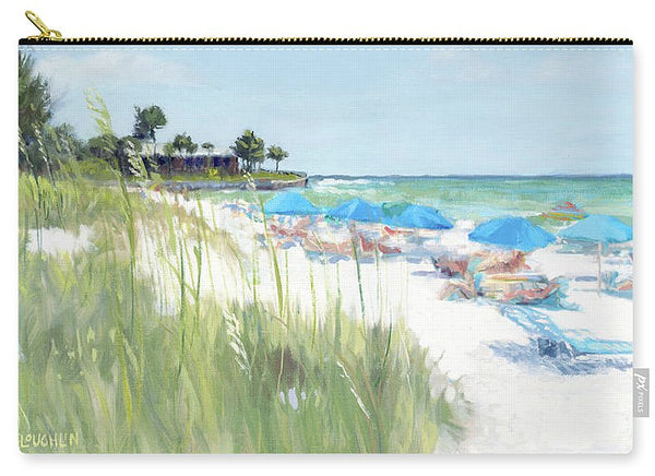 Blue Beach Umbrellas, Crescent Beach, Siesta Key - Wide - Carry-All Pouch