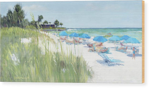 Blue Beach Umbrellas, Crescent Beach, Siesta Key - Wide - Wood Print