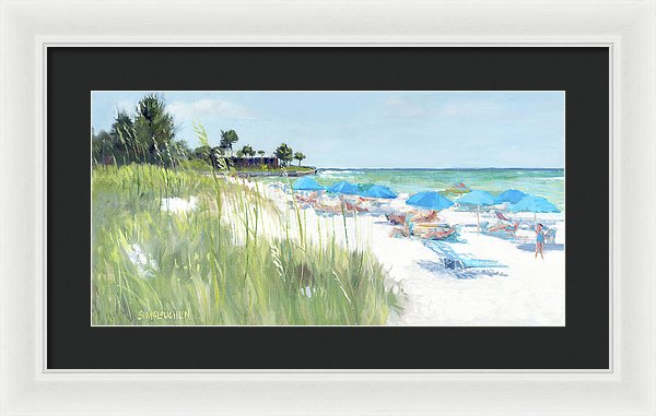 Blue Beach Umbrellas, Crescent Beach, Siesta Key - Wide - Framed Print