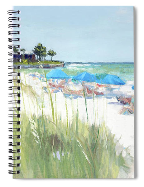 Blue Beach Umbrellas, Crescent Beach, Siesta Key - Wide - Spiral Notebook