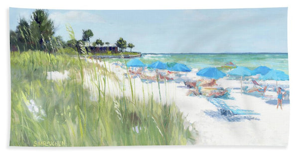 Blue Beach Umbrellas, Crescent Beach, Siesta Key - Wide - Beach Towel