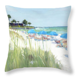 Blue Beach Umbrellas, Crescent Beach, Siesta Key - Wide - Throw Pillow