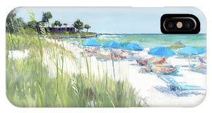 Blue Beach Umbrellas, Crescent Beach, Siesta Key - Wide - Phone Case