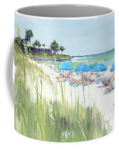 Blue Beach Umbrellas, Crescent Beach, Siesta Key - Wide - Mug