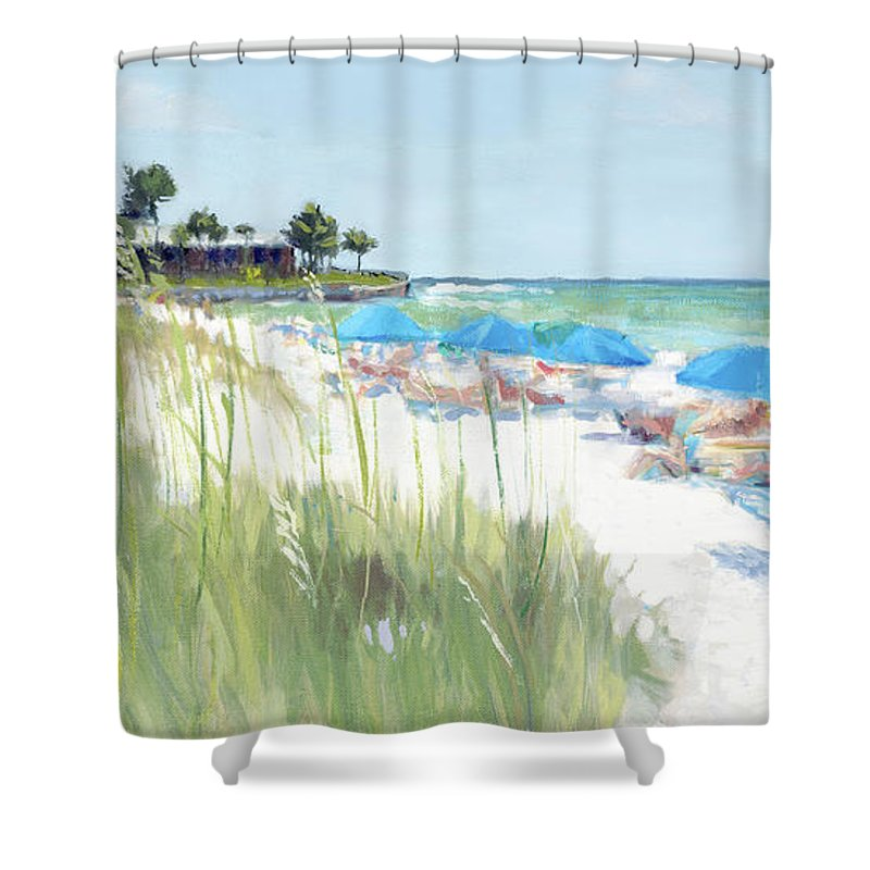Blue Beach Umbrellas, Crescent Beach, Siesta Key - Wide - Shower Curtain