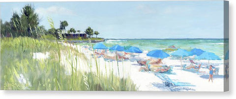 Blue Beach Umbrellas On Point Of Rocks, Crescent Beach, Siesta Key Wide-narrow - Canvas Print