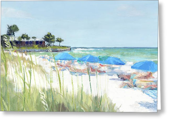 Blue Beach Umbrellas On Point Of Rocks, Crescent Beach, Siesta Key Wide-narrow - Greeting Card