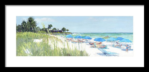 Blue Beach Umbrellas On Point Of Rocks, Crescent Beach, Siesta Key Wide-narrow - Framed Print