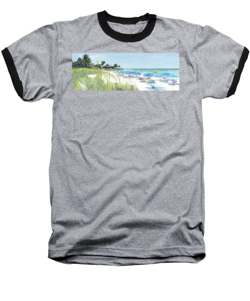 Blue Beach Umbrellas On Point Of Rocks, Crescent Beach, Siesta Key Wide-narrow - Baseball T-Shirt