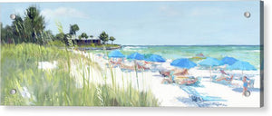 Blue Beach Umbrellas On Point Of Rocks, Crescent Beach, Siesta Key Wide-narrow - Acrylic Print