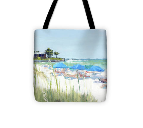 Blue Beach Umbrellas On Point Of Rocks, Crescent Beach, Siesta Key Wide-narrow - Tote Bag