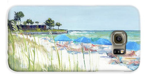 Blue Beach Umbrellas On Point Of Rocks, Crescent Beach, Siesta Key Wide-narrow - Phone Case