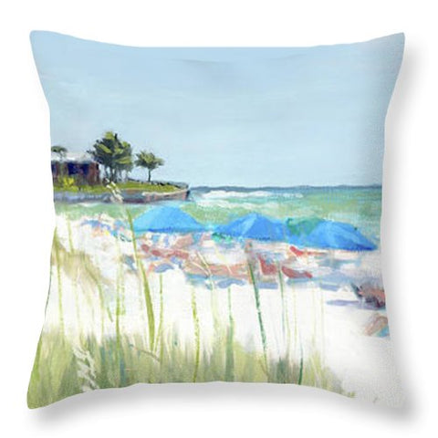 Blue Beach Umbrellas On Point Of Rocks, Crescent Beach, Siesta Key Wide-narrow - Throw Pillow
