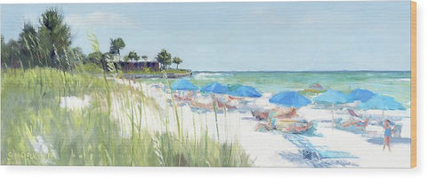 Blue Beach Umbrellas On Point Of Rocks, Crescent Beach, Siesta Key Wide-narrow - Wood Print