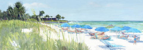 Blue Beach Umbrellas On Point Of Rocks, Crescent Beach, Siesta Key Wide-narrow - Art Print