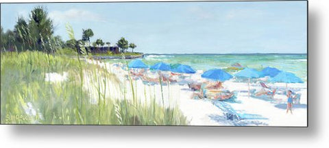 Blue Beach Umbrellas On Point Of Rocks, Crescent Beach, Siesta Key Wide-narrow - Metal Print