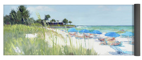Blue Beach Umbrellas On Point Of Rocks, Crescent Beach, Siesta Key Wide-narrow - Yoga Mat