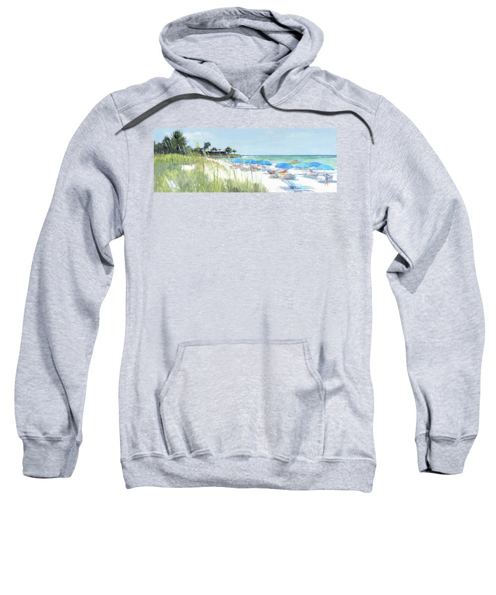 Blue Beach Umbrellas On Point Of Rocks, Crescent Beach, Siesta Key Wide-narrow - Sweatshirt