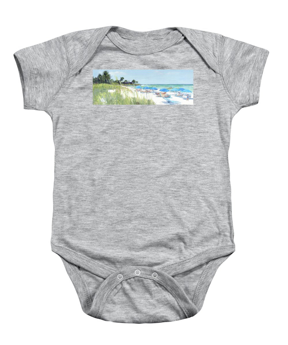 Blue Beach Umbrellas On Point Of Rocks, Crescent Beach, Siesta Key Wide-narrow - Baby Onesie