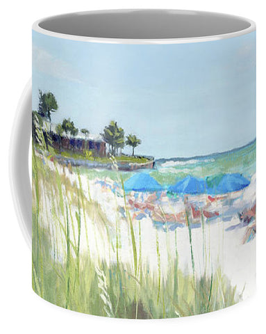 Blue Beach Umbrellas On Point Of Rocks, Crescent Beach, Siesta Key Wide-narrow - Mug