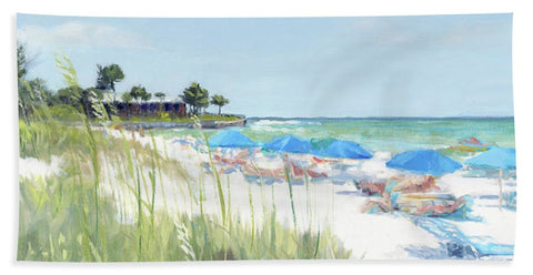 Blue Beach Umbrellas On Point Of Rocks, Crescent Beach, Siesta Key Wide-narrow - Bath Towel