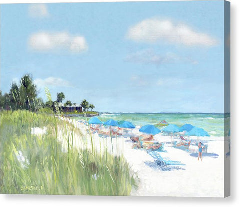 Blue Beach Umbrellas, Point Of Rocks, Crescent Beach, Siesta Key - Canvas Print