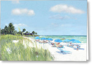 Blue Beach Umbrellas, Point Of Rocks, Crescent Beach, Siesta Key - Greeting Card