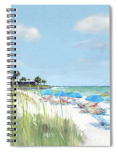 Blue Beach Umbrellas, Point Of Rocks, Crescent Beach, Siesta Key - Spiral Notebook