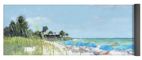 Blue Beach Umbrellas, Point Of Rocks, Crescent Beach, Siesta Key - Yoga Mat