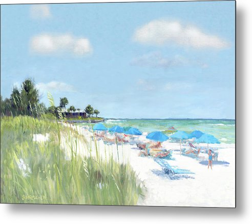 Blue Beach Umbrellas, Point Of Rocks, Crescent Beach, Siesta Key - Metal Print
