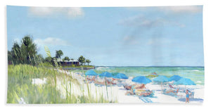 Blue Beach Umbrellas, Point Of Rocks, Crescent Beach, Siesta Key - Bath Towel
