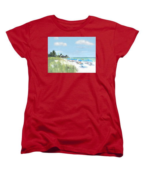 Blue Beach Umbrellas, Point Of Rocks, Crescent Beach, Siesta Key - Women's T-Shirt (Standard Fit)