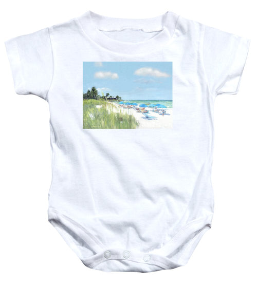 Blue Beach Umbrellas, Point Of Rocks, Crescent Beach, Siesta Key - Baby Onesie