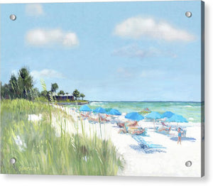 Blue Beach Umbrellas, Point Of Rocks, Crescent Beach, Siesta Key - Acrylic Print