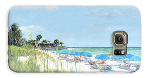 Blue Beach Umbrellas, Point Of Rocks, Crescent Beach, Siesta Key - Phone Case