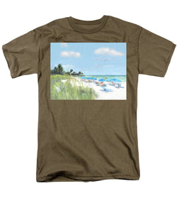 Blue Beach Umbrellas, Point Of Rocks, Crescent Beach, Siesta Key - Men's T-Shirt  (Regular Fit)
