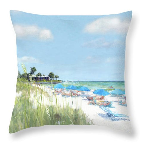 Blue Beach Umbrellas, Point Of Rocks, Crescent Beach, Siesta Key - Throw Pillow