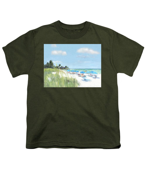 Blue Beach Umbrellas, Point Of Rocks, Crescent Beach, Siesta Key - Youth T-Shirt