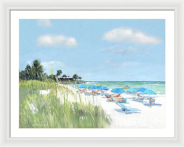 Blue Beach Umbrellas, Point Of Rocks, Crescent Beach, Siesta Key - Framed Print