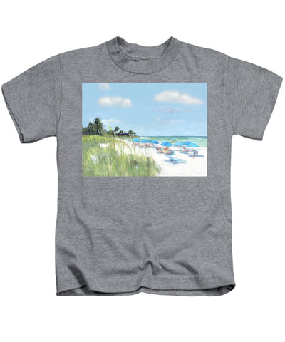 Blue Beach Umbrellas, Point Of Rocks, Crescent Beach, Siesta Key - Kids T-Shirt