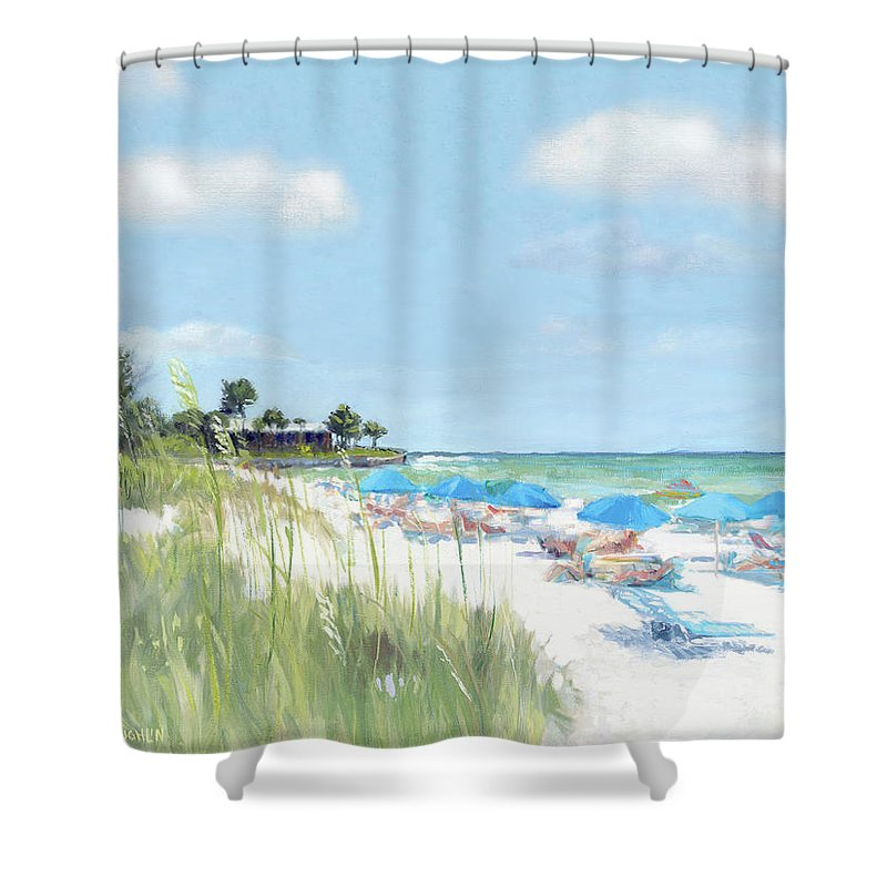 Blue Beach Umbrellas, Point Of Rocks, Crescent Beach, Siesta Key - Shower Curtain
