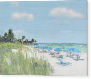 Blue Beach Umbrellas, Point Of Rocks, Crescent Beach, Siesta Key - Wood Print
