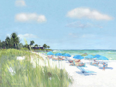 Blue Beach Umbrellas, Point Of Rocks, Crescent Beach, Siesta Key - Art Print