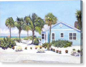Blue Cottage On Siesta Key Beach, Access 3 - Canvas Print
